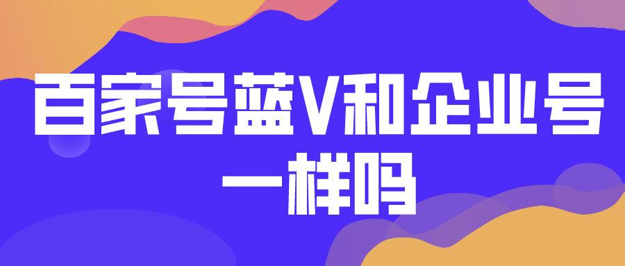 百家号蓝V和企业号一样吗?搜索seo优化服务机构怎么选?